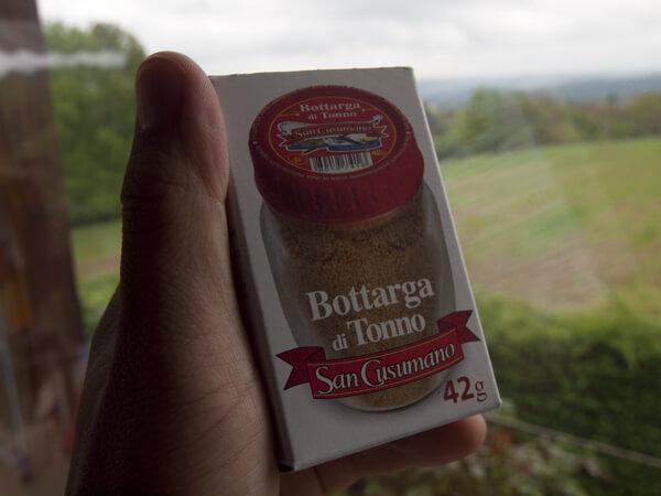 カラスミの粉末。パスタに使います。