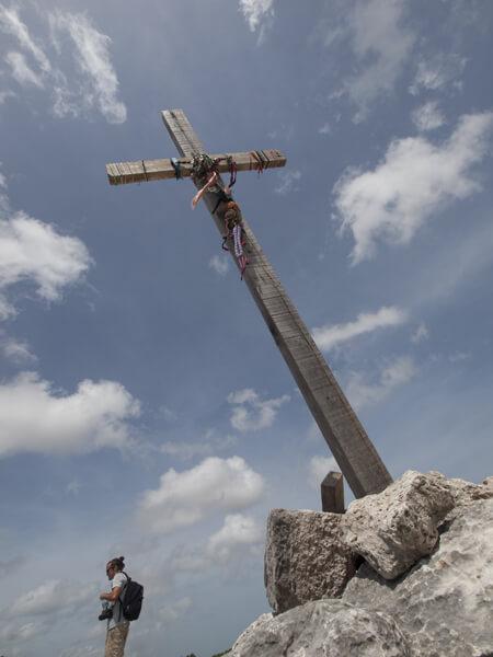 シュカンブ遺跡の「十字架のピラミッド」頂上。