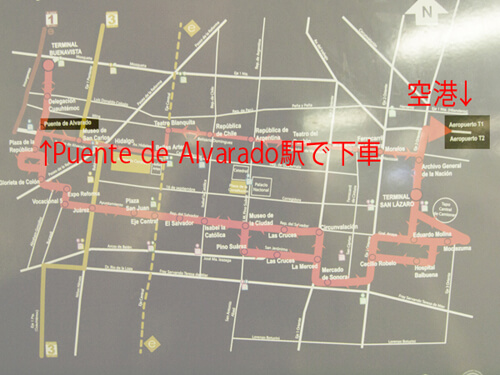 Puente de Alvarado駅で下車。早朝深夜なら一時間以内で着きます。