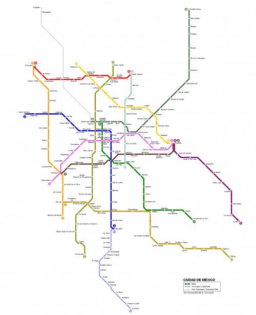 メキシコの地下鉄路線図です。