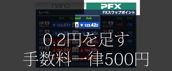 「PFX」の「Ask」の価格に、0.2円を足します。 手数料は、一律500円です。